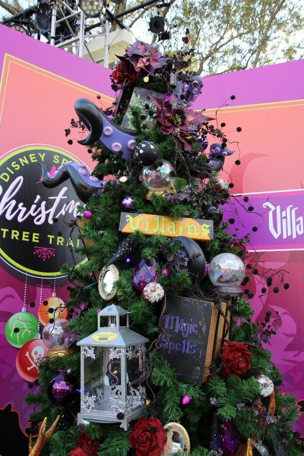 a Christmas tree decorated with a Disney villains theme