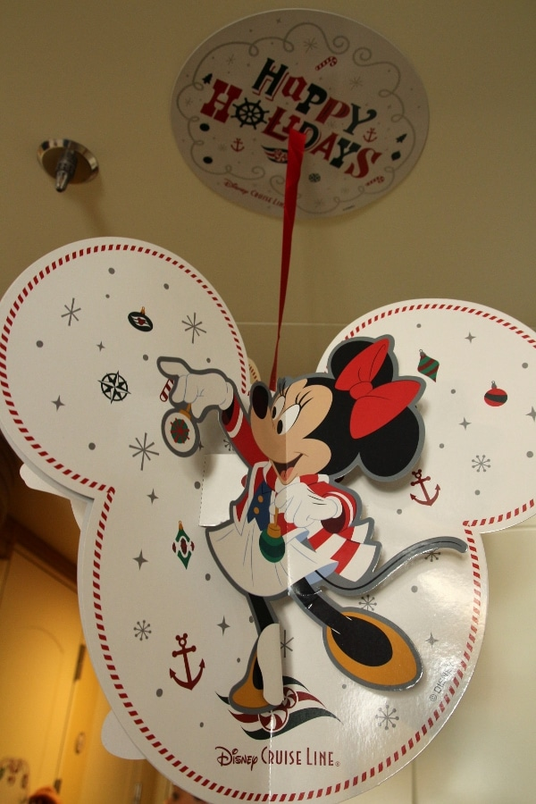 a Minnie Mouse themed decoration hanging from the ceiling