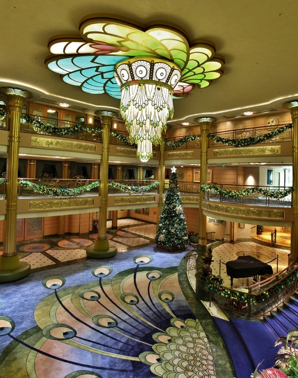overhead wide view of the Disney Fantasy lobby decorated for Christmas