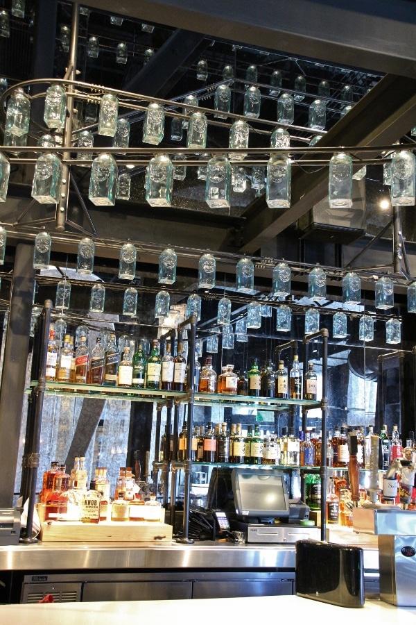 closeup of a bar inside a restaurant