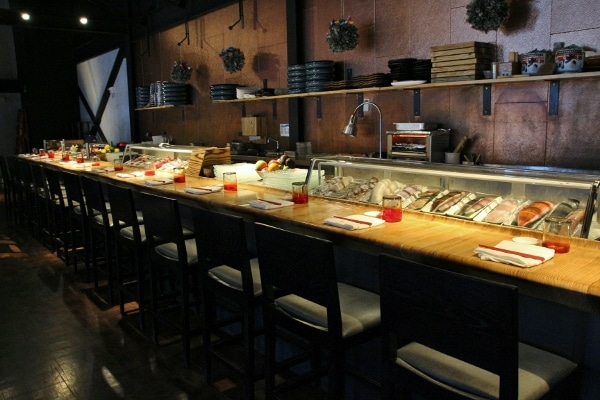 wide view of a sushi bar in a restaurant
