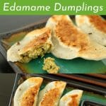 Edamame dumplings on a rectangular plate with dipping sauce on the side