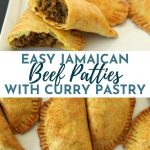 Jamaican beef patties served on a white rectangular plate, with one cut in half to show the filling