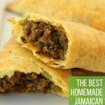 close up of a Jamaican beef patty cut in half the show the filling