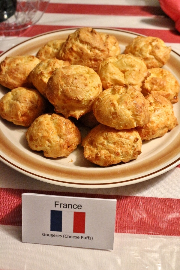 a platter of French cheese puffs