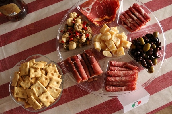 overhead view of an antipasti platter