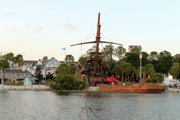 a pirate ship on the shore