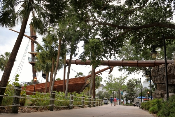 wide view of the pirate ship slide at Disney\'s Yacht and Beach Club Resorts