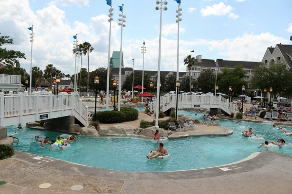 a wide view of the lazy river at Disney\'s Yacht and Beach Club Resorts