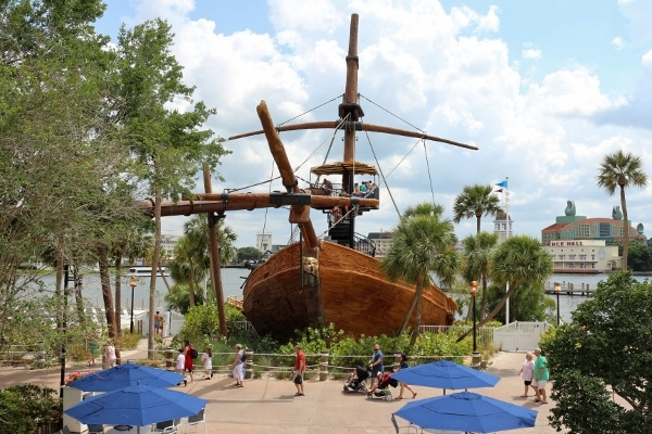 a pirate ship water slide