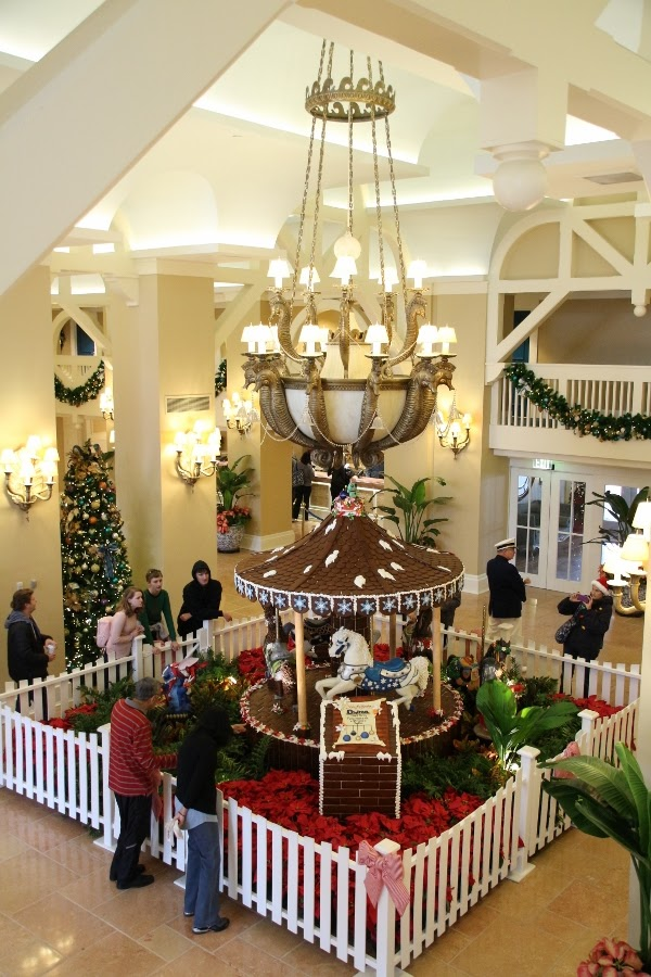 a wide view of Disney\'s Beach Club Resort lobby at Christmastime