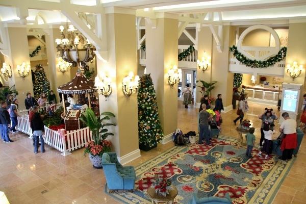 Disney\'s Beach Club Resort lobby with Christmas decorations