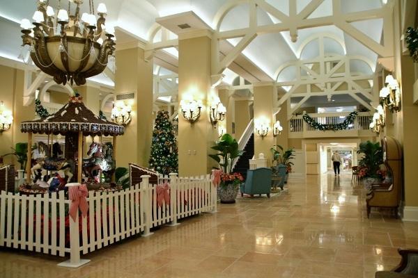 Disney\'s Beach Club Resort lobby decorated for Christmas