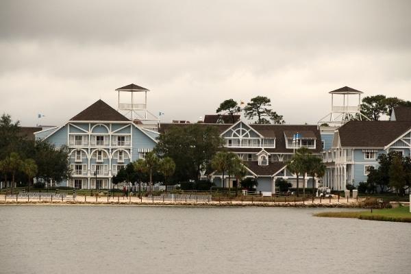 Disney\'s Beach Club Resort from across the lagoon