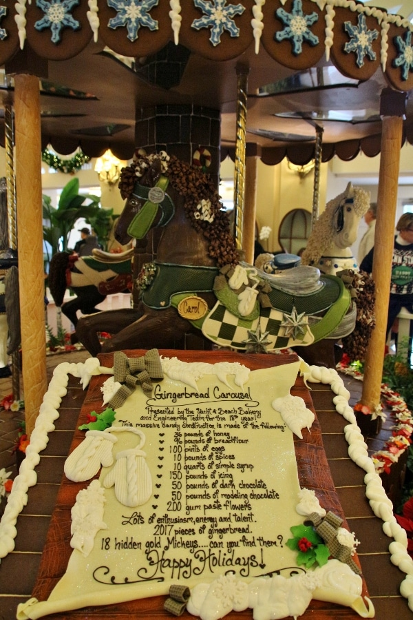 a sign listing ingredients in the Gingerbread Carousel