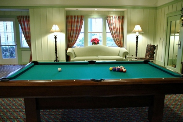 closeup of a billiard table in a room