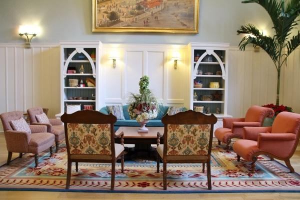 closeup of colorful furniture in a sitting area