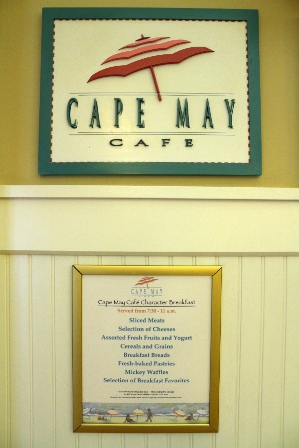 Cape May Cafe character breakfast menu
