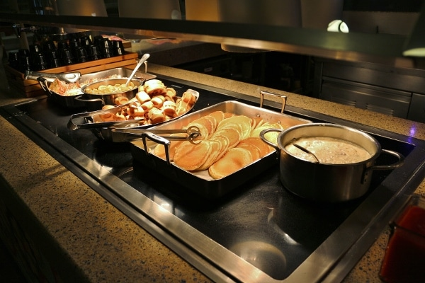 various breakfast foods on a buffet
