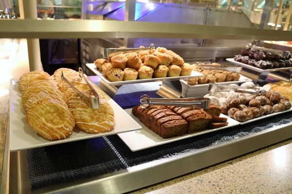 breakfast pastries on a buffet