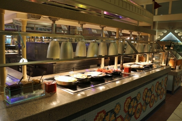 wide view of the buffet area at Cape May Cafe
