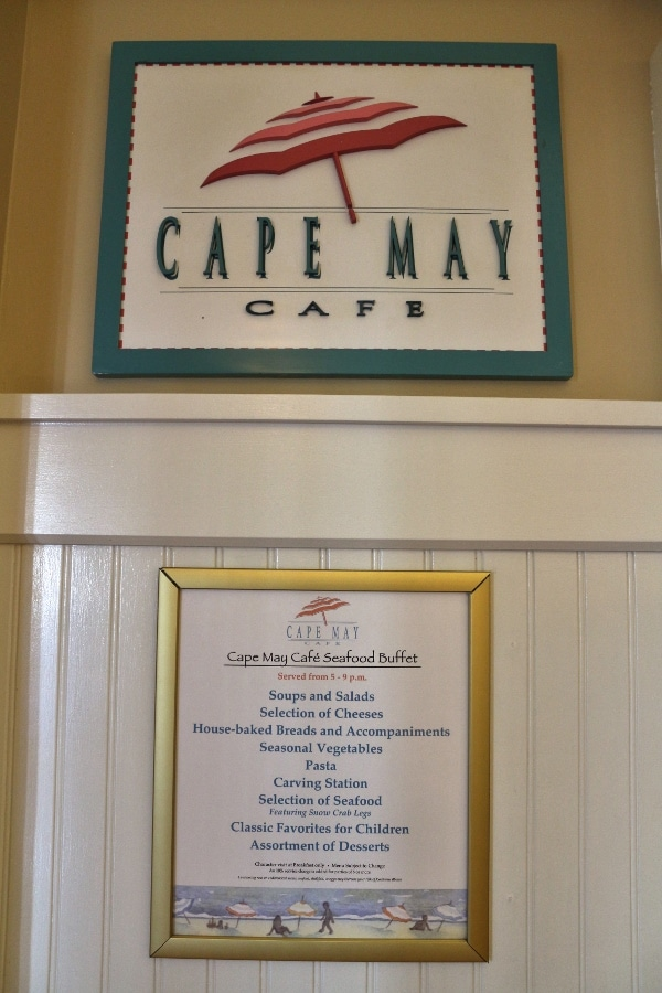 Cape May Cafe seafood buffet menu
