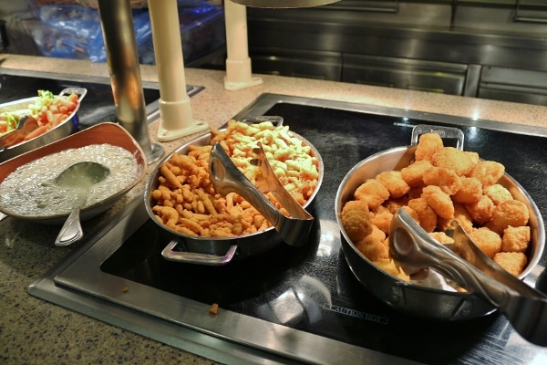 fried seafood on a buffet