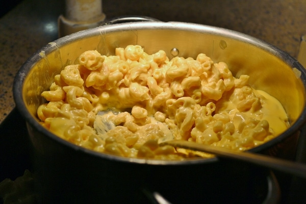 macaroni and cheese on a buffet
