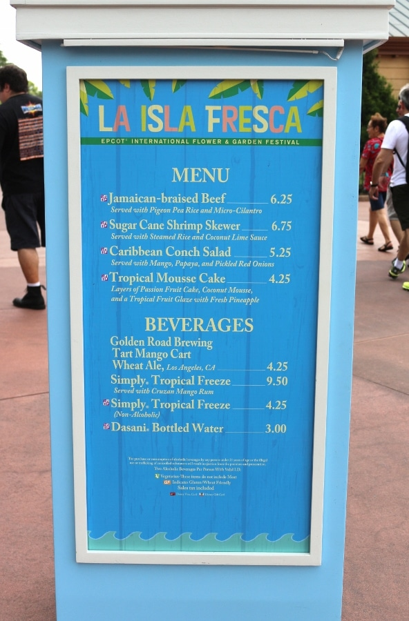 La Isla Fresca menu board