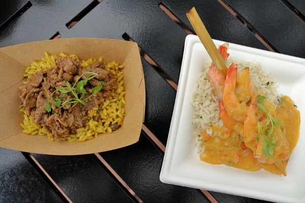 plates of food from the La Isla Fresca food booth at Epcot