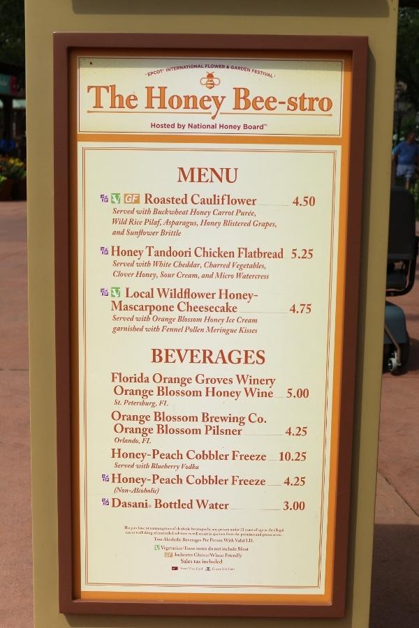 The Honey Bee-stro menu board