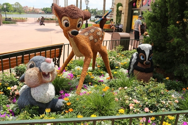 Bambi, Thumper, and Flower topiaries