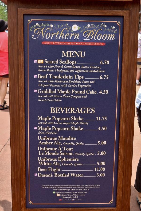 Northern Bloom menu board