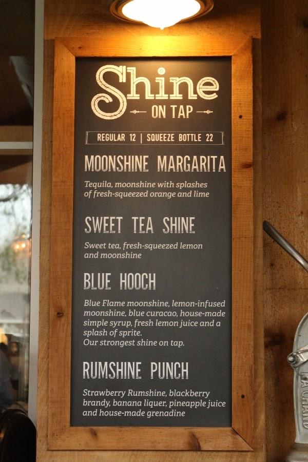 a moonshine menu