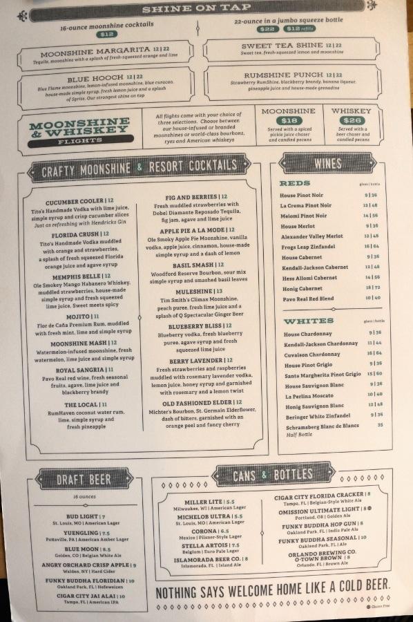 restaurant drink menu