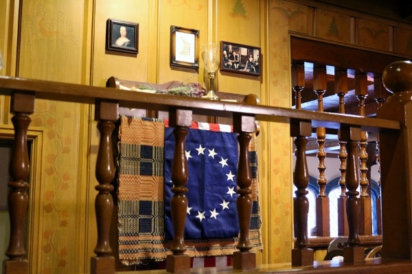 some decorations in the Betsy Ross room of the Liberty Tree Tavern