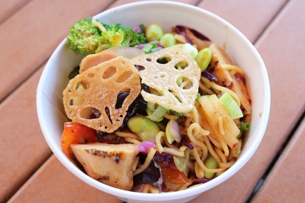 A bowl of noodles with chicken and vegetables