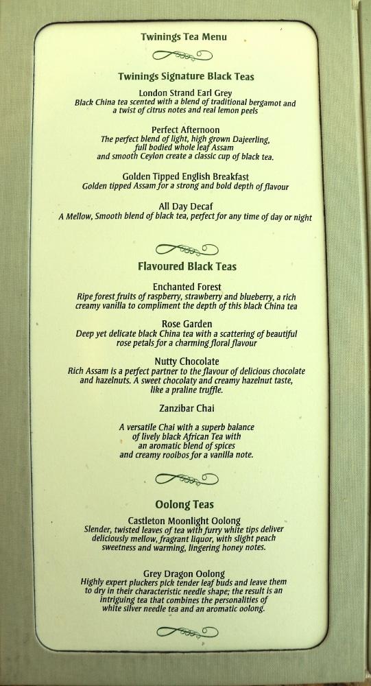 a tea menu