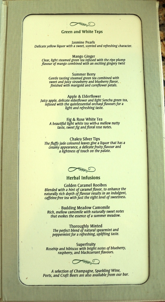 another page of a tea menu