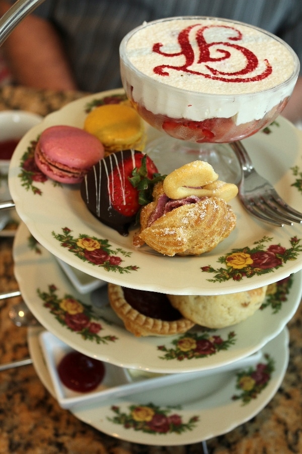 a 3 tiered afternoon tea service