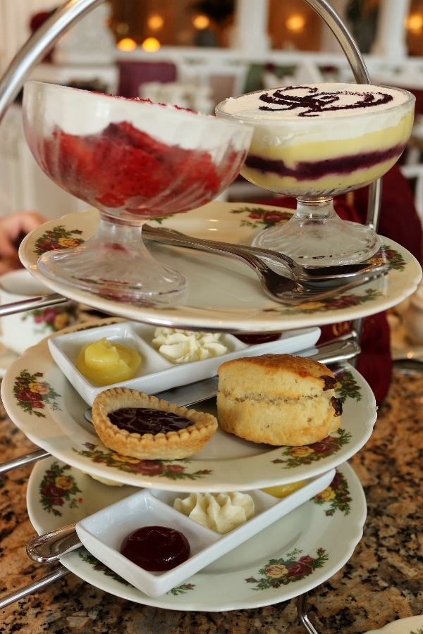 side view of a 3 tiered afternoon tea food display