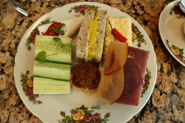 A plate of small tea sandwiches