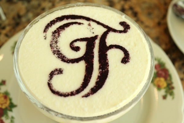 overhead view of a trifle topped with the letters GF