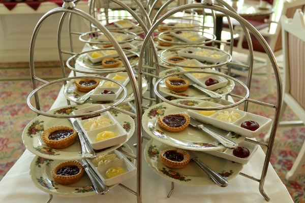 rows of plates of food for afternoon tea