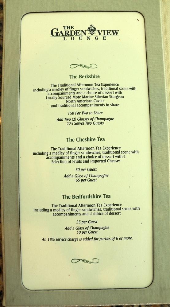 an afternoon tea menu