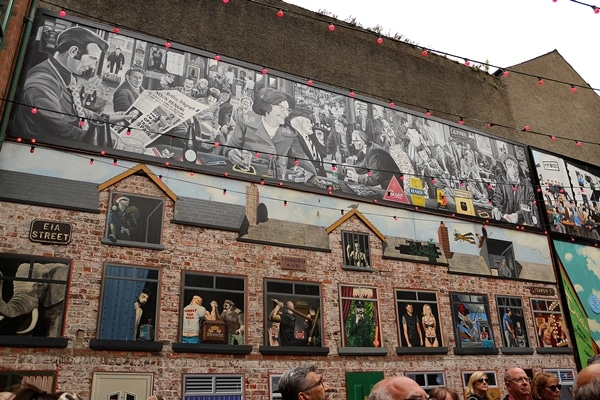 a large mural on a building