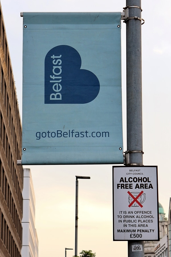A Belfast sign on a pole
