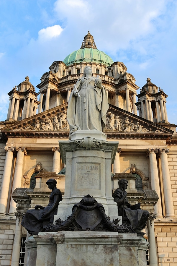 closeup of the Queen Victoria statue in front of Belfast City Hall