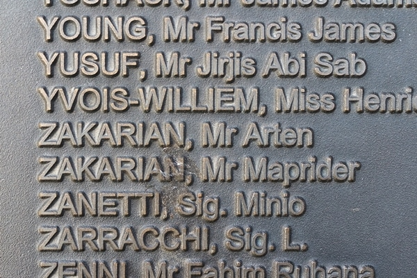 some names of Titanic victims on a plaque