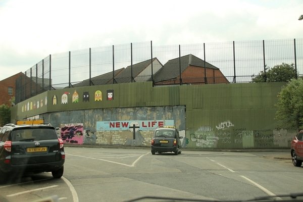 views driving by the Peace Wall in Belfast